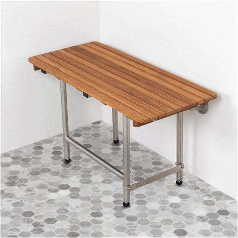 Buy Teakworks4u Burmese Teak ADA Shower Seat with Drop Down Legs