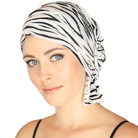 Chemo Beanies Keisha White/Black Zebra Ruffle