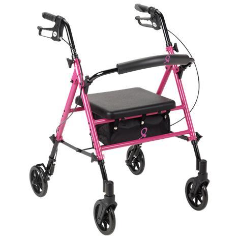 Drive ACS Aluminum Breast Care Awareness Four Wheel Rollator