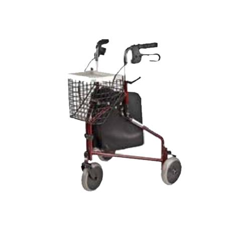Rose Healthcare Three Wheeled Rolling Walker With Carry Bag