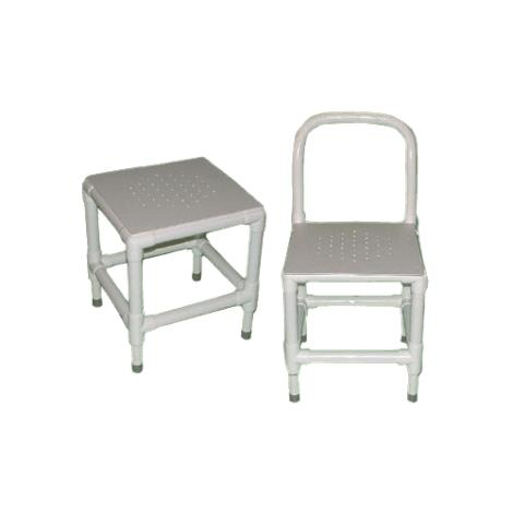 Duralife Shower And Bath Chair With Adjustable Legs And Perforated Plastic Seat