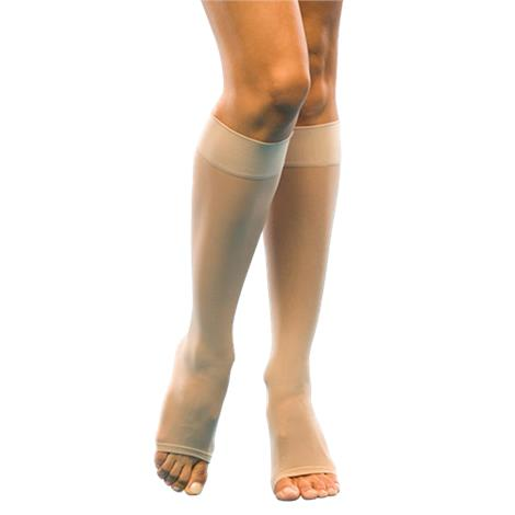 Sigvaris 120 Series Sheer Fashion 15-20 mmHg Open Toe Calf High Compression Stocking For Women
