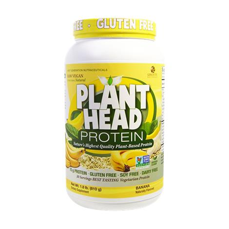 Genceutic Naturals Plant Head Protein Powder Banana