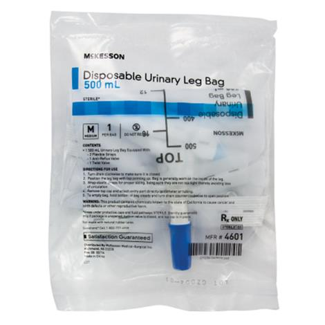 McKesson Vinyl Urinary Leg Bag With Anti-Reflux Valve