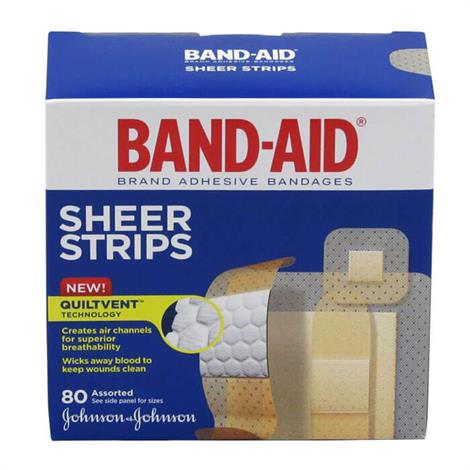 Johnson & Johnson Band-Aid Sheer Strip Assorted Adhesive Bandage