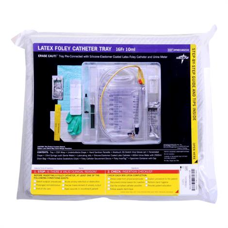 Medline Silicone Elastomer Coated Latex Erase Cauti Foley Catheter Tray With Urine Meter