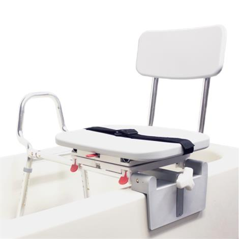 Snap-N-Save Sliding Tub-Mount Transfer Bench With Swivel Seat And Back
