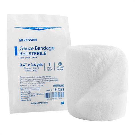 McKesson Cotton Gauze Sterile Fluff Bandage Roll