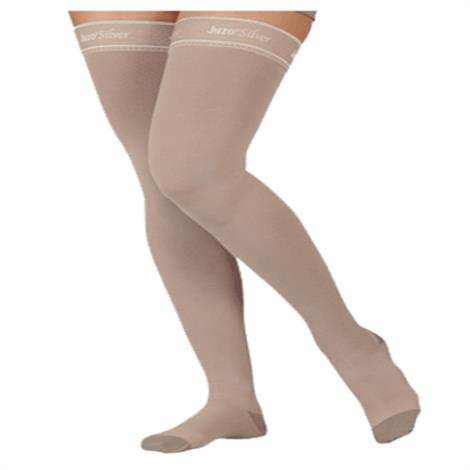 Juzo Silver Soft Thigh High 20-30mmHg Compression Stockings with Silicone Border