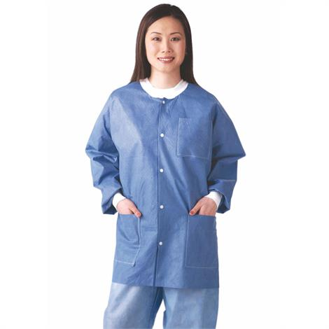 Medline Disposable Multi-Layer Blue Lab Jackets With Knit Cuff And Collar