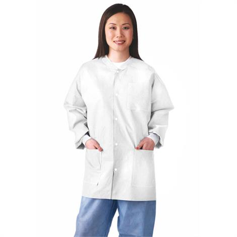 Medline Disposable Multi-Layer White Lab Jackets With Knit Cuff And Collar