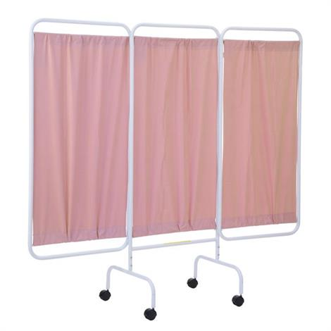 R&B Mobile Antimicrobial Three Panel Privacy Screen With Casters