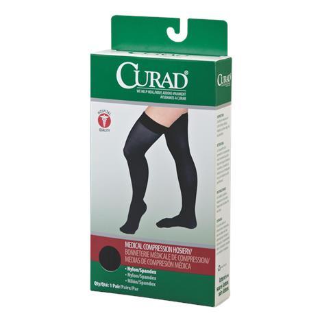 Medline Curad Hospital-Quality Closed Toe Thigh High 15-20mmHg Medical Compression Stockings