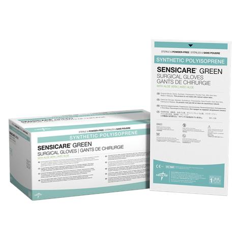 Medline SensiCare Green with Aloe Powder-Free Surgical Gloves