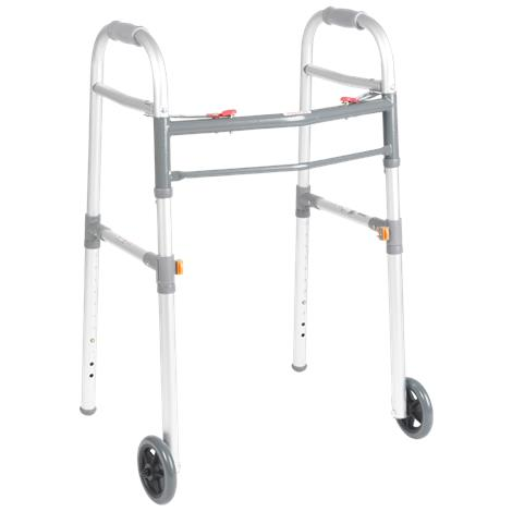 Drive Two Button Universal Folding Walker With 5 Inch Wheels