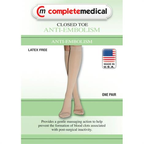 Complete Medical Below Knee 15-20mmHg Closed Toe Anti-Embolism Stockings