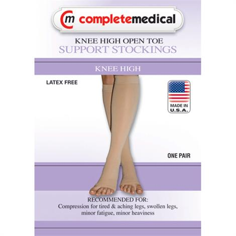 Complete Medical Extra Firm Below Knee Open Toe 20-30 mmHg Compression  Stockings