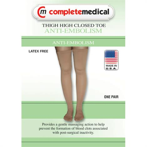 Complete Medical Thigh High Closed Toe 15-20 mmHg Anti-Embolism Stockings