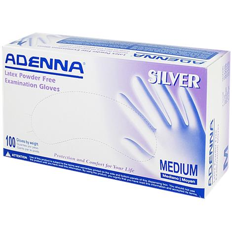 Adenna Silver Latex Powder Free Exam Gloves