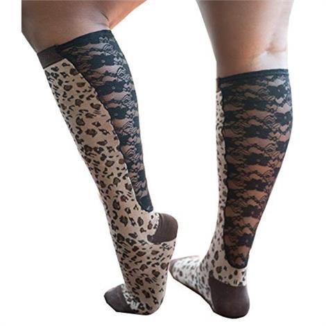 Xpandasox Plus Size Cotton Blend Leopard With Lace Knee Socks