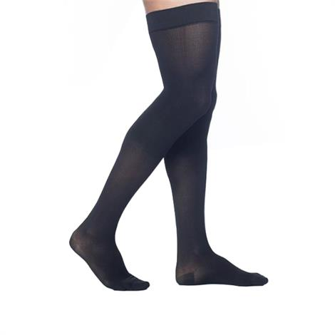 FLA Activa Sheer Therapy Closed Toe Thigh High 15-20mmHg Black Compression Stockings