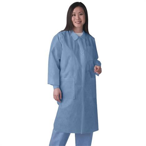 Medline Disposable Unisex Knit Cuff And Traditional Collar Blue Lab Coats