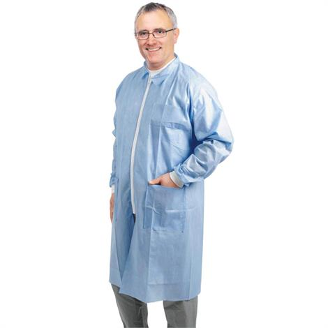 Medline Disposable Zip Front Multi-Layer Lab Coats