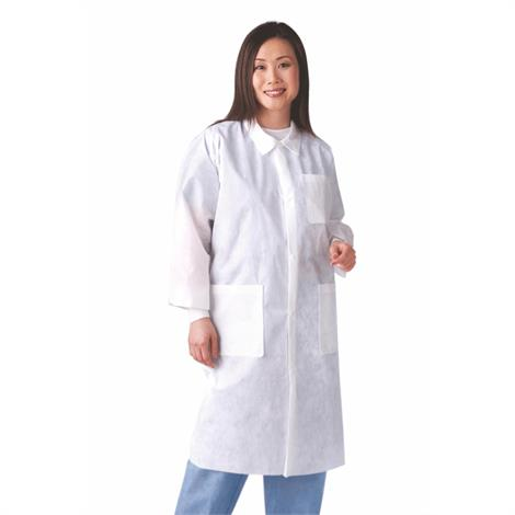 Medline Disposable Unisex Knit Cuff And Traditional Collar White Lab Coats