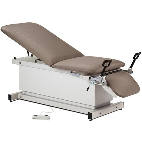 Clinton Shrouded Power Exam Table with Stirrups, Adjustable Backrest and Footrest