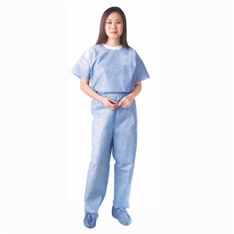 Medline Unisex Disposable Round Neck Scrub Shirt