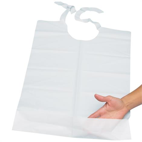 Disposable Plastic Bibs With Perforated Tie Backs And Handy Pocket