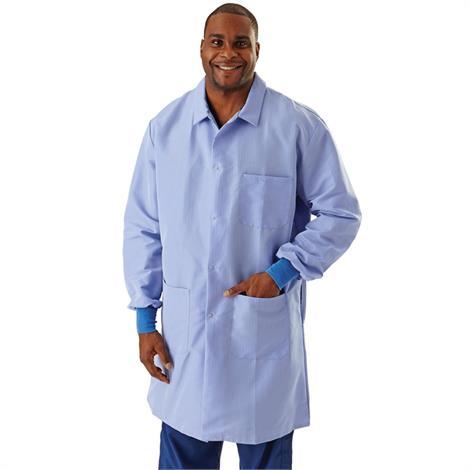Medline Men ResiStat Blue Lab Coat with Pockets