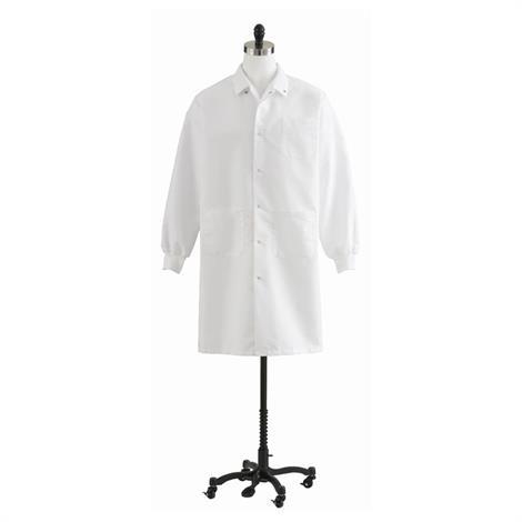 Medline Unisex Knit Cuff Knee Length White Lab Coat