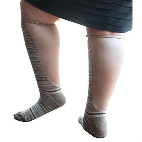 Xpandasox Plus Size/Wide Calf Cotton Blend Diamond Stripe Knee High Compression Socks