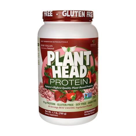 Genceutic Naturals Plant Head Protein Powder Strawberry