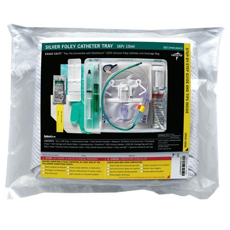 Medline Silvertouch 100 Percent Silicone Erase Cauti Foley Catheter Tray With Drainage Bag