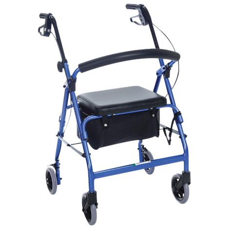 Essential Medical Featherlight  Aluminum Four Wheel Walker With Loop Hand Brakes