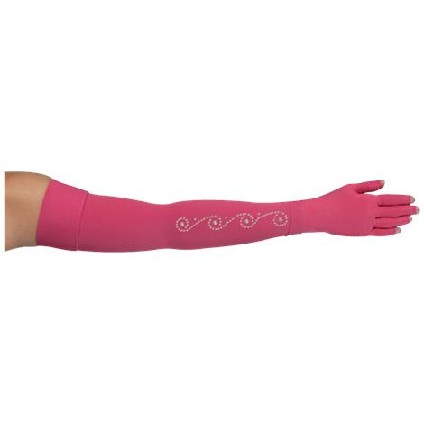 LympheDivas Fuchsia With Crystal Swirl Compression Arm Sleeve And Glove