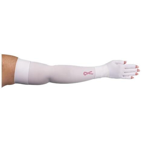 LympheDivas White With Crystal Ribbon Compression Arm Sleeve And Glove