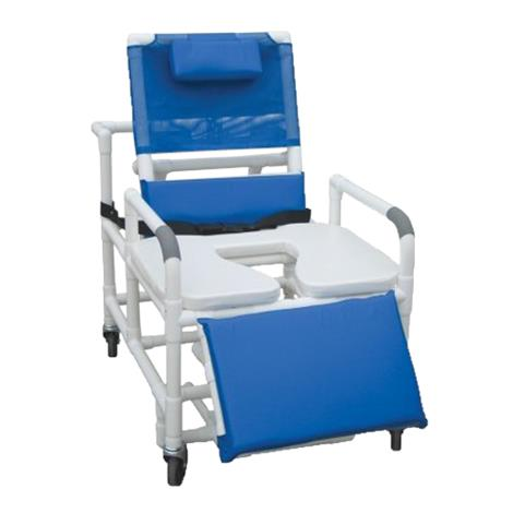 MJM International Bariatric Reclining Shower Chair with Open Front Soft Seat