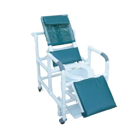 MJM International Reclining Shower Chair with Deluxe Elongated Open Front Commode Seat