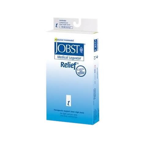 BSN Jobst Relief Large Open Toe Thigh High 15-20 mmHg Compression Stockings with Silicone Band