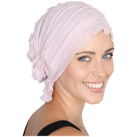 Chemo Beanies Donna Rose Pink Print Ruffle