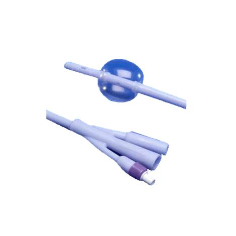 Covidien Kendall Dover Three-Way Silver Coated 100% Silicone Foley Catheter - 30cc Balloon Capacity