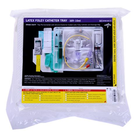 Medline Silicone Elastomer Coated Latex Erase Cauti Foley Catheter Tray