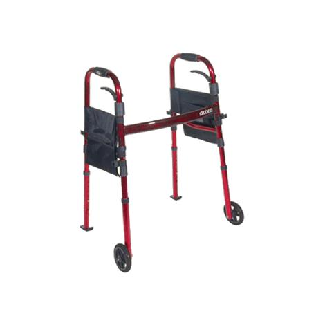 Drive Deluxe Folding Travel Walker With 5 Inch Wheels