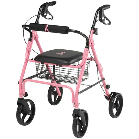 Medline Breast Cancer Awareness Four Wheel Rollator