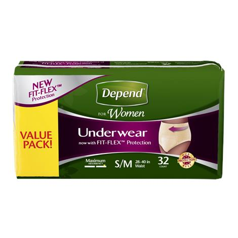 Depend Fit-Flex Maximum Absorbency Underwear For Women - Value Pack