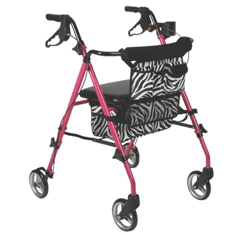 Medline Posh Pink Zebra Deluxe Four-Wheel Folding Rollator