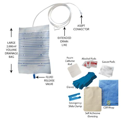 ASEPT 2000 mL Peritoneal Drainage Bag Kit
